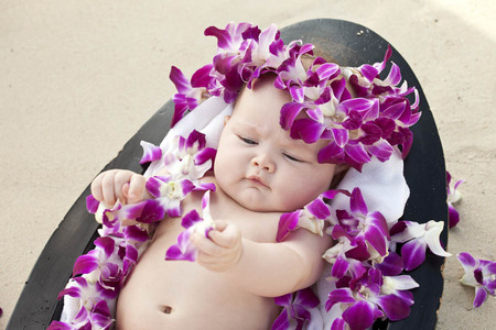 77 Oahu Hawaii newborn photography beach
