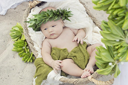 72 Oahu Hawaii newborn photography beach