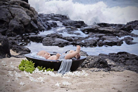 43 Oahu Hawaii newborn photography beach